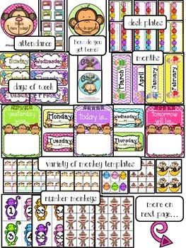 EDITABLE Everything Monkeys Classroom Decor Pack