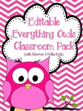 Everything Owls Classroom Pack Including All EDITABLE Templates