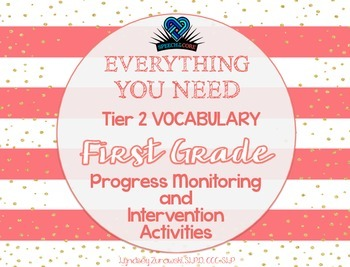 Everything You Need! First Grade Tier 2 Vocab Progress Monitoring & Intervention