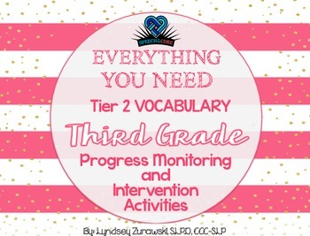 Everything You Need! Third Grade Tier 2 Vocab Progress Monitoring & Intervention