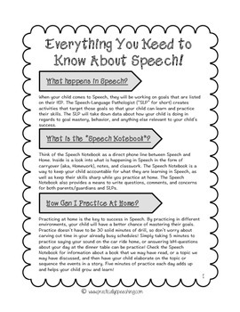 Everything You Need to Know About Speech: A Parent Hand-out About Speech
