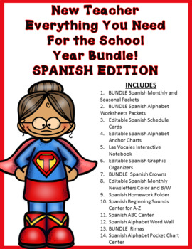 Everything You Need to Teach Kinder BUNDLE:  SPANISH EDITION