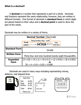 Everything a Fourth Grade Should Know about Decimals