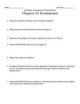 Everything's an Argument Ch. 10 Close Reading Notes