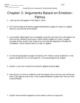 Everything's an Argument Ch. 2 Close Reading Notes