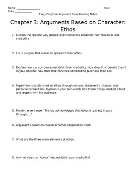 Everything's an Argument Ch. 3 Close Reading Notes
