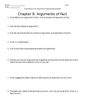 Everything's an Argument Ch. 8 Close Reading Notes