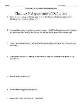 Everything's an Argument Ch. 9 Close Reading Notes