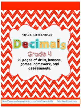 Everything you Need for 4th Grade CC Decimals (NF.C5, 6, 7)