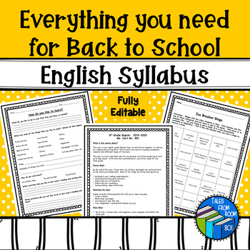 English Syllabus and Everything you need for back to school - fully editable