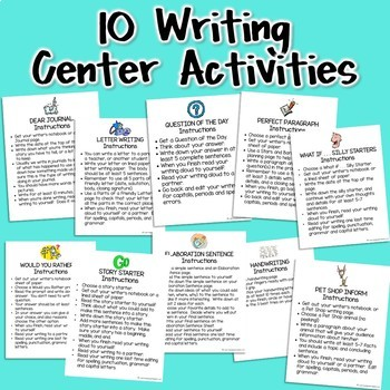 Writing Center Activities for Grades 2-3: 500+ Pages of Print and Go Resources