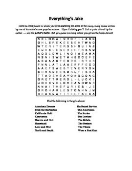 Everything's Jake, A Word Search Involving a Very Prolific Author, John Jakes