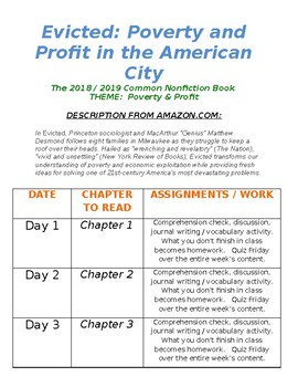 Evicted by Matthew Desmond Reading Schedule (in WORD)