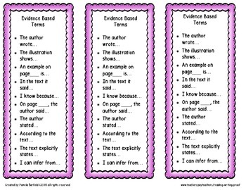 Evidence Based Terms Bookmarks