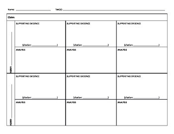 Evidence-Based Claims Planning Chart