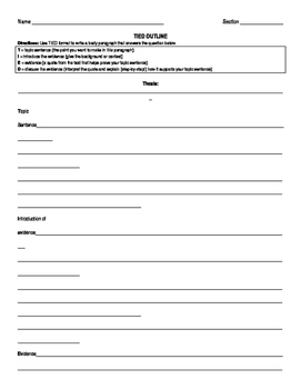 Evidence-Based Paragraph Writing Outline