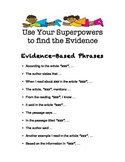 Evidence Based Phrases for Opinion/Informative Text Based Writing