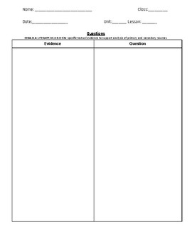 Evidence Based Questions Differentiated Graphic Organizer