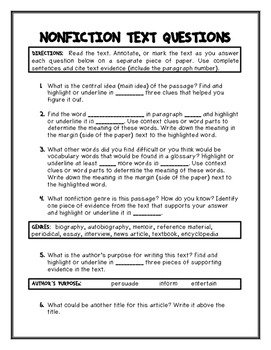 Informational Text Response (ANY Nonfiction Text - Evidence based - Annotating)