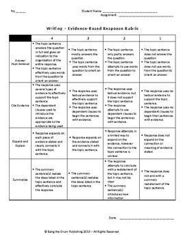 Short-Constructed Response Rubric (Evidence-Based Writing in All Content Areas)