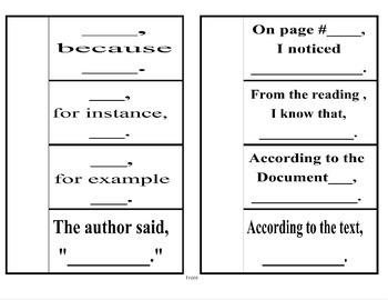 Evidence Based Sentences Notebook Foldable