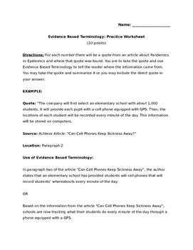 Evidence Based Terminology
