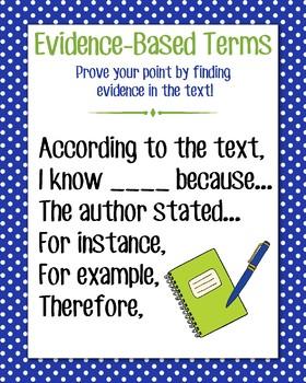Evidence-Based Terms Anchor Chart, Blue Polka Dot