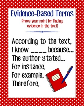 Evidence-Based Terms Anchor Chart, Red Polka Dot