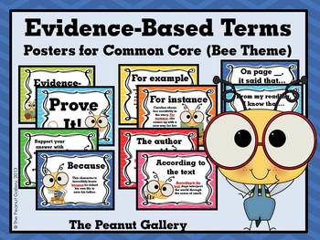 Evidence-Based Terms Posters for Common Core (Bee Theme)
