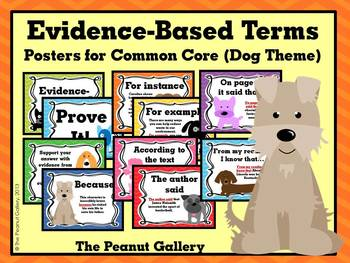 Evidence-Based Terms Posters for Common Core (Dog Theme)