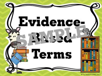 Evidence-Based Terms Posters for Common Core (Jungle/Zebra Theme)