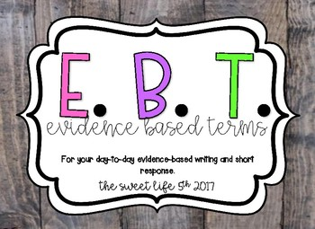 Evidence Based Terms posters in Shiplap & Brights theme