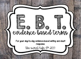 Evidence Based Terms posters in Shiplap theme