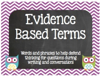 Evidence Based Words and Phrases Chevron & Owl Poster Set