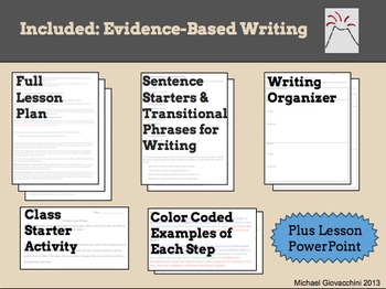 Evidence-Based Writing Lesson and Organizer {Common Core Aligned 6th and up}