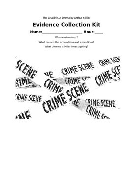 Evidence Collection Kit for Arthur Miller's The Crucible