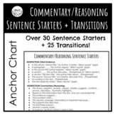 Evidence/Commentary/Reasoning Sentence Starters and Transitions Anchor Chart