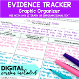 Evidence Graphic Organizers for Literary or Informational Text DIGITAL and PRINT