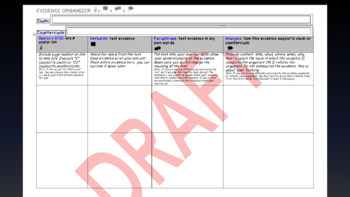 Evidence Graphic Organizer: Claim/Counterclaim Argument Tool CCSS C&CR Aligned
