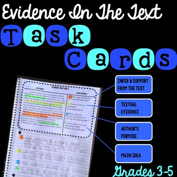 Evidence In The Text Task Cards FREE!