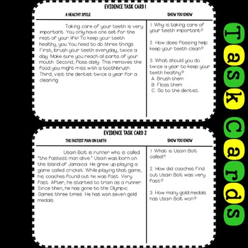 Evidence In The Text Task Cards Grades 1-2