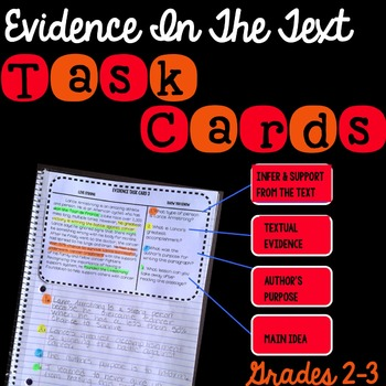 Evidence In The Text Task Cards Grades 2-3