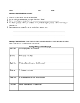 Evidence Paragraph Notes, Whitman reading, and Lesson for Interactive Notebooks