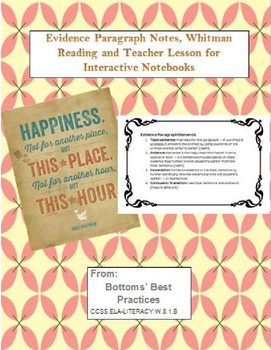 Evidence Paragraph Notes, Whitman reading, and Lesson for