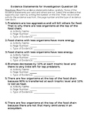 Evidence Statements Ecology Unit Investigation 2 Ancillary C