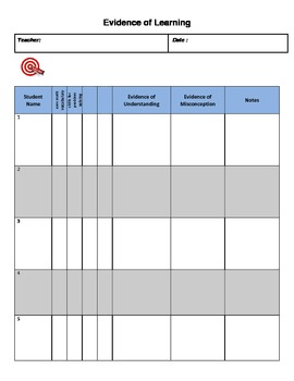 Evidence Tracker Formative Assessment Checklist