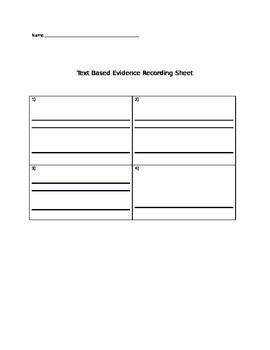 Evidence based answer sheet