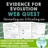 Evolution -  Homologous and Analogous Structures Web Quest