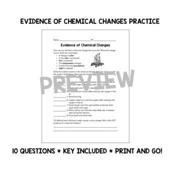 evidence of chemical changes worksheet by lisa lackey tpt. Black Bedroom Furniture Sets. Home Design Ideas