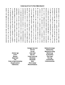 Evidence of Earth's Past Word Search